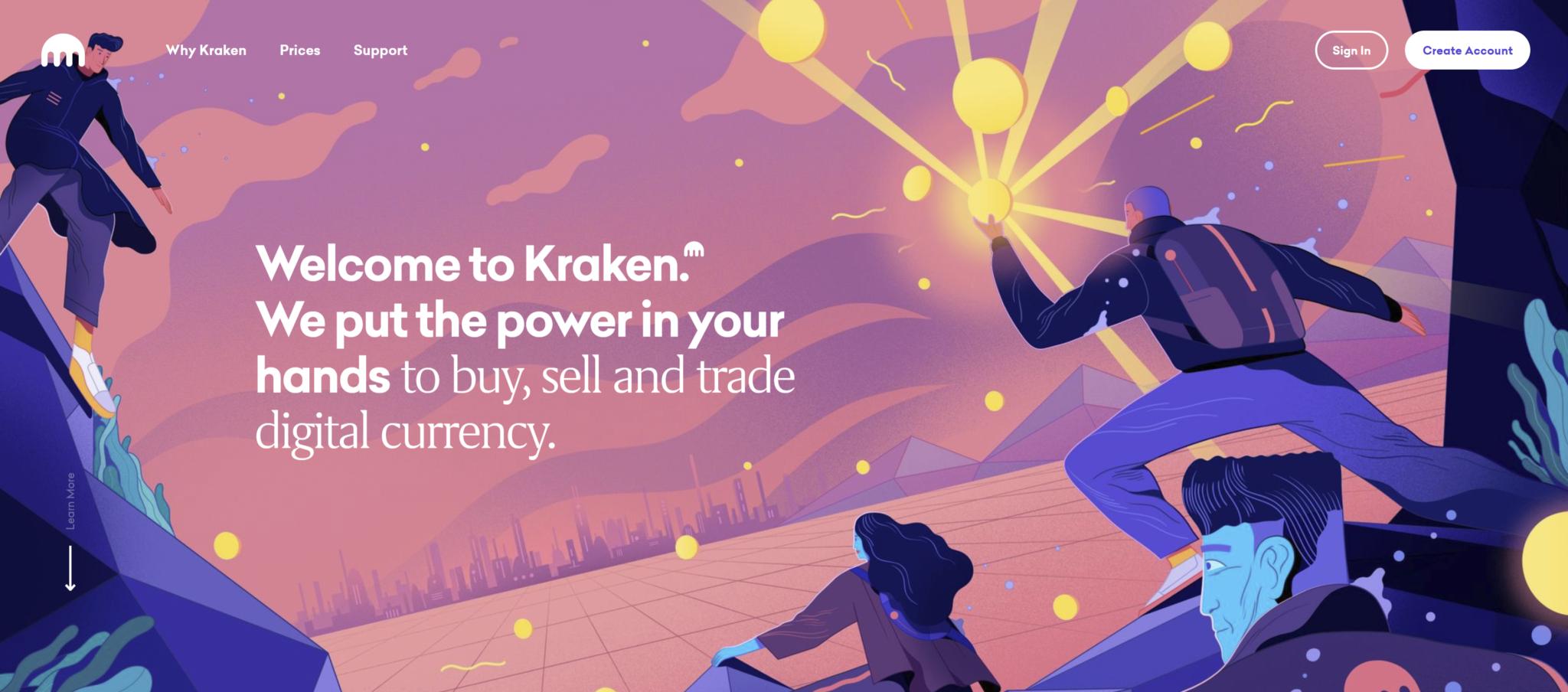 Kraken Exchange homepage