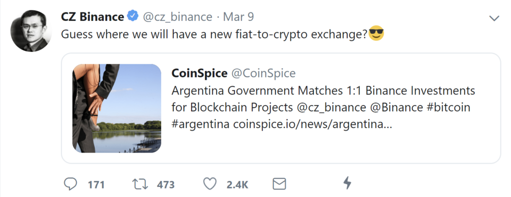 CZ Binance Argentina Tweet