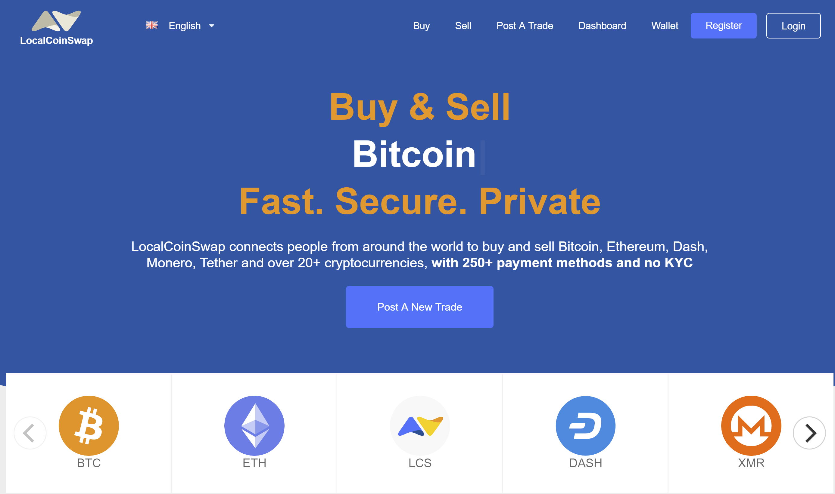 LocalCoinSwap homepage